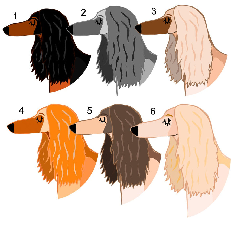 Afghan Hound Personalised name ID Tag - White  - Hoobynoo - Personalised Pet Tags and Gifts