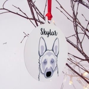 German Shepherd Monochrome Christmas Decoration