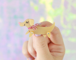 Sausage Dog Acrylic Brooch  - Hoobynoo - Personalised Pet Tags and Gifts
