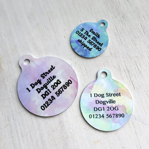 Watercolour Pet Name ID Tag  - Hoobynoo - Personalised Pet Tags and Gifts