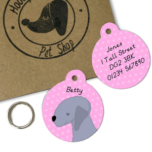 Bedlington Terrier Personalised Dog Collar ID Tag  - Hoobynoo - Personalised Pet Tags and Gifts