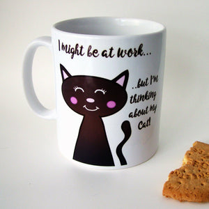 Thinking about my Cat Work Mug  - Hoobynoo - Personalised Pet Tags and Gifts
