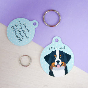 Bernese Mountain Dog Personalised Dog ID Tag  - Hoobynoo - Personalised Pet Tags and Gifts