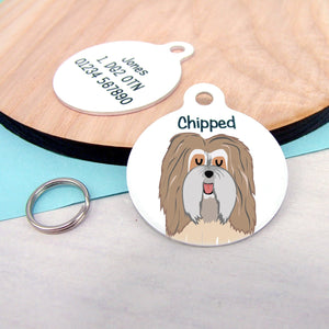 Havanese Dog Personalised name ID Tag - White  - Hoobynoo - Personalised Pet Tags and Gifts
