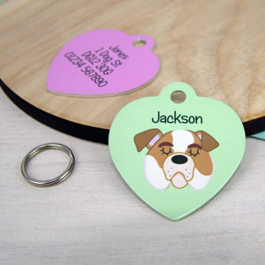 Bulldog Dog Tag - HEART