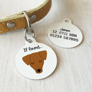 Jack Russell Dog Personalised name ID Tag - White  - Hoobynoo - Personalised Pet Tags and Gifts