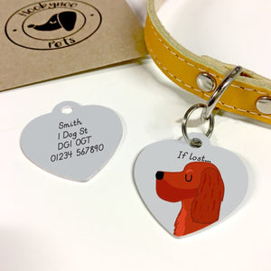 Personalised Setter Dog ID Tag - HEART  - Hoobynoo - Personalised Pet Tags and Gifts