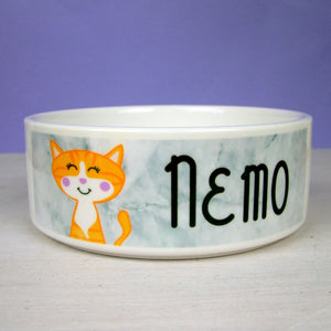 Personalised Cat Bowl Marble  - Hoobynoo - Personalised Pet Tags and Gifts