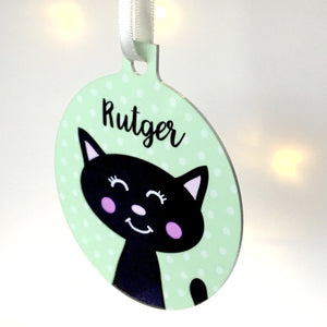 Personalised Cat Christmas Tree Decoration  - Hoobynoo - Personalised Pet Tags and Gifts