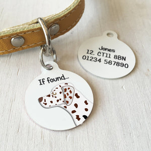 Dalmatian Personalised name ID Tag - White  - Hoobynoo - Personalised Pet Tags and Gifts
