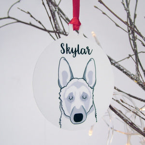 Personalised German Shepherd Christmas Decoration - Monochrome  - Hoobynoo - Personalised Pet Tags and Gifts