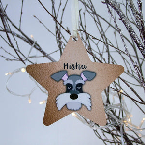 Copper Printed Personalised Dog Hanging Christmas Decoration
