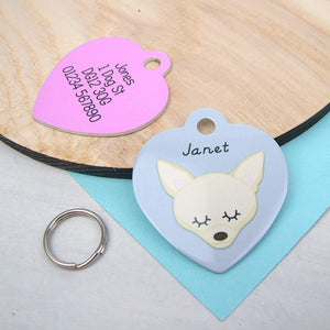 Personalised Chihuahua Dog ID Tag - HEART  - Hoobynoo - Personalised Pet Tags and Gifts
