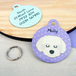 Coton Du Tulear/Maltese Terrier Personalised Dog ID Tag  - Hoobynoo - Personalised Pet Tags and Gifts