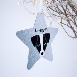 Silver Printed Personalised Dog Hanging Christmas Decoration