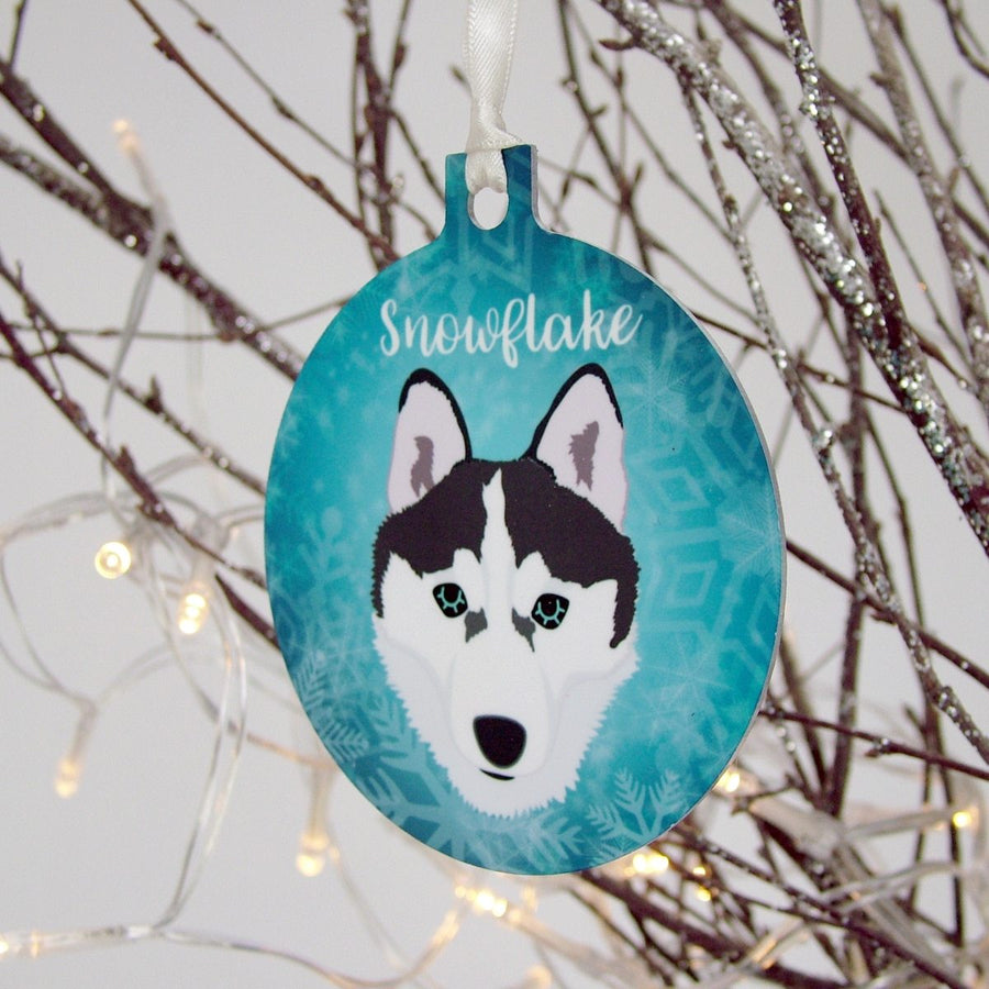 Snowflake Personalised Dog Christmas Decoration  - Hoobynoo - Personalised Pet Tags and Gifts
