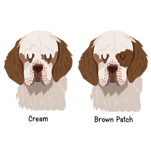 Clumber Spaniel Personalised name ID Tag - White  - Hoobynoo - Personalised Pet Tags and Gifts