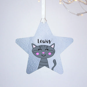Silver Printed Personalised Cat Christmas Decoration  - Hoobynoo - Personalised Pet Tags and Gifts