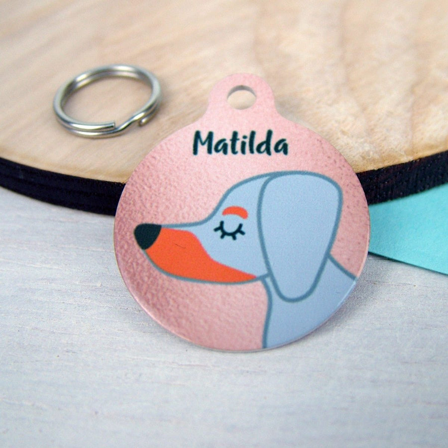 Personalised Dachshund Copper Print Dog Tag - Small 25mm  - Hoobynoo - Personalised Pet Tags and Gifts