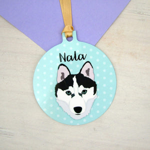 Husky Personalised Christmas Decoration - Polka Dots