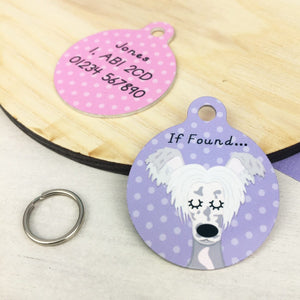 Chinese Crested Personalised Dog Name ID Tag  - Hoobynoo - Personalised Pet Tags and Gifts