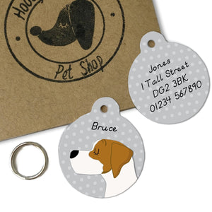 Personalised English Pointer Dog Name Tag - Polka Dot  - Hoobynoo - Personalised Pet Tags and Gifts