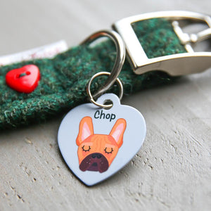 French Bulldog Personalised Pet ID Tag - Heart  - Hoobynoo - Personalised Pet Tags and Gifts