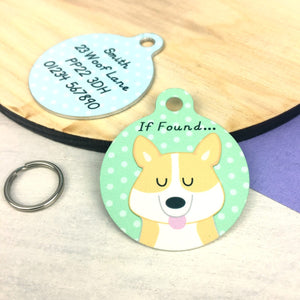 Corgi Personalised Pet Name Id Tag  - Hoobynoo - Personalised Pet Tags and Gifts