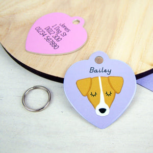 Personalised Jack Russell Dog Id Tag - HEART  - Hoobynoo - Personalised Pet Tags and Gifts