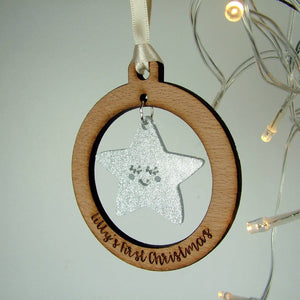 Personalised Baby's First Christmas Tree Decoration  - Hoobynoo - Personalised Pet Tags and Gifts