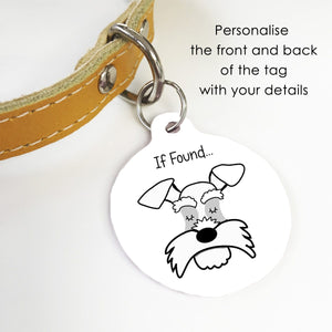 Personalised Schnauzer Dog ID Tag - Monochrome  - Hoobynoo - Personalised Pet Tags and Gifts