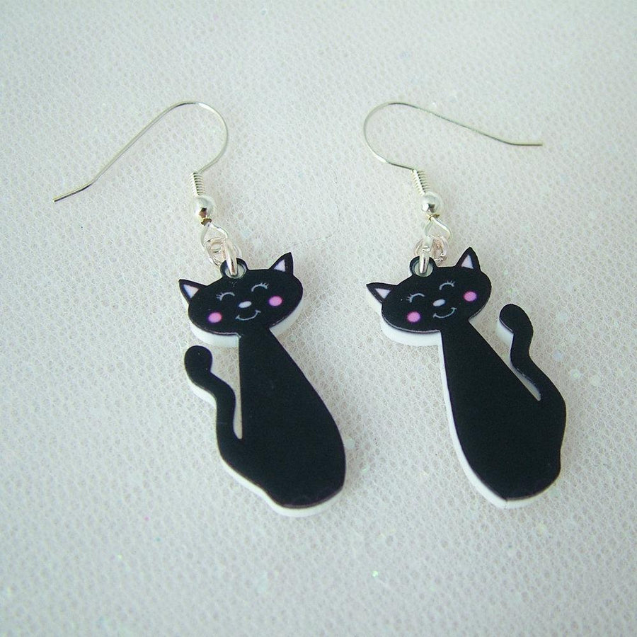 Black Cat Cute Acrylic Earrings  - Hoobynoo - Personalised Pet Tags and Gifts