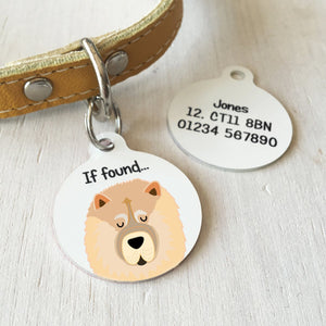 Chow Chow Personalised name ID Tag - White  - Hoobynoo - Personalised Pet Tags and Gifts