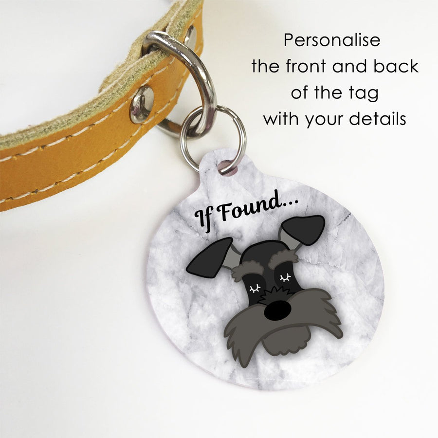 Personalised Schnauzer Marble Dog ID Tag  - Hoobynoo - Personalised Pet Tags and Gifts
