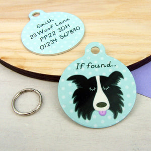 Border Collie Personalised Dog ID Tag  - Hoobynoo - Personalised Pet Tags and Gifts