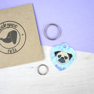 Personalised Watercolour Dog ID Tag - HEART  - Hoobynoo - Personalised Pet Tags and Gifts