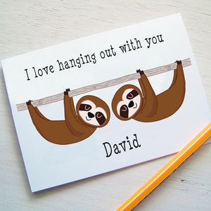 Sloth Greetings Card  - Hoobynoo - Personalised Pet Tags and Gifts