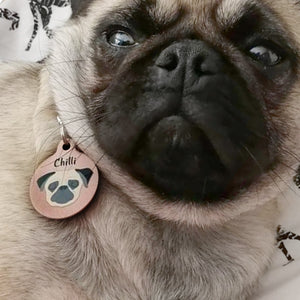 Pug Copper Personalised Dog ID Tag  - Hoobynoo - Personalised Pet Tags and Gifts