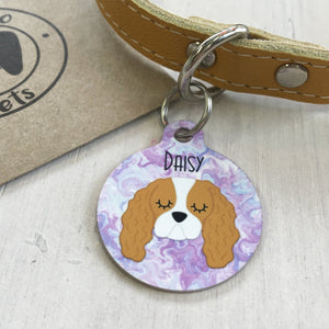 Personalised Dog ID Collar Tag - Marbelled Swirls  - Hoobynoo - Personalised Pet Tags and Gifts