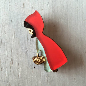 Red Riding Hood Handmade Acrylic Brooch  - Hoobynoo - Personalised Pet Tags and Gifts