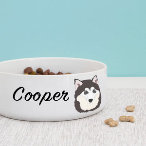 Alaskan Malamute Personalised Ceramic Dog Bowl  - Hoobynoo - Personalised Pet Tags and Gifts