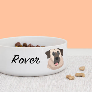 Anatolian Shepherd Dog Personalised Bold Ceramic Dog Bowl  - Hoobynoo - Personalised Pet Tags and Gifts