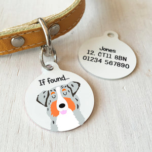 Australian Shepherd Dog Personalised name ID Tag - White  - Hoobynoo - Personalised Pet Tags and Gifts