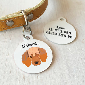 Basset Fauve De Bretagne Personalised name ID Tag - White  - Hoobynoo - Personalised Pet Tags and Gifts