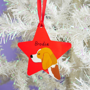 Personalised Beagle Christmas Tree Decoration - Polka Dot  - Hoobynoo - Personalised Pet Tags and Gifts