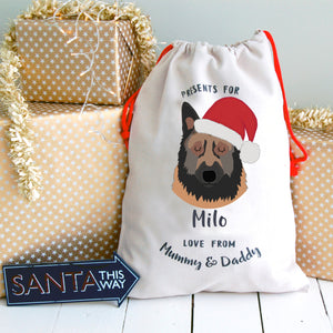 Belgian Tervuren Personalised Christmas Present Sack  - Hoobynoo - Personalised Pet Tags and Gifts