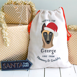 Belgian Malinois Personalised Christmas Present Sack  - Hoobynoo - Personalised Pet Tags and Gifts