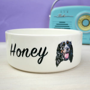Bespoke Pet Portrait Personalised Bold Ceramic Dog Bowl  - Hoobynoo - Personalised Pet Tags and Gifts