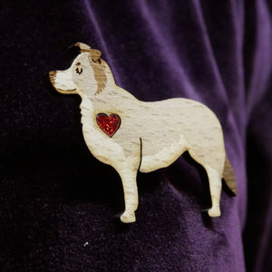 Border Collie Wooden Brooch with Glitter Heart Detail