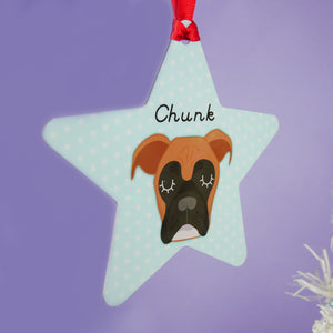 Boxer Dog Personalised Christmas Decoration - Polka Dots  - Hoobynoo - Personalised Pet Tags and Gifts